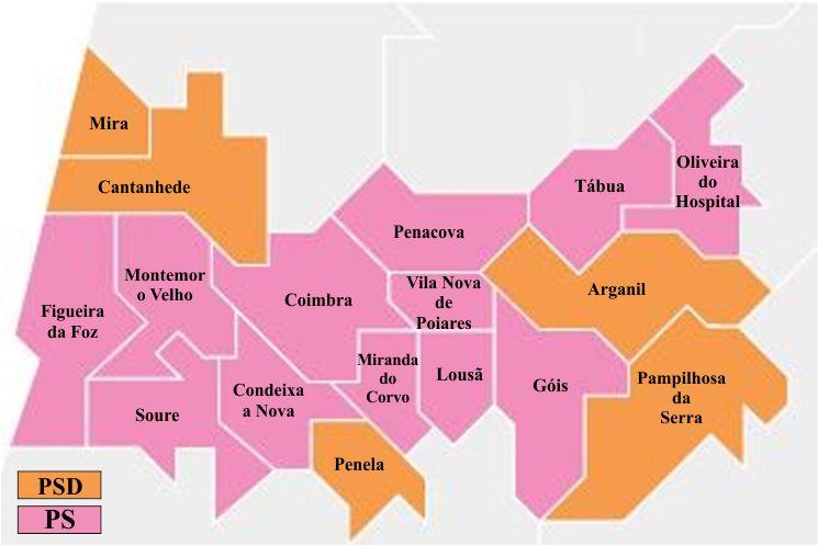 Mapa Autarquico Do Distrito De Coimbra A Comarca De Arganil