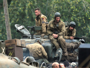 Brad Pitt and Shia LaBeouf are spotted on set of his new film 'Fury'